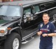 Datuk Seri Steven Leow and his three eye-catching black Hummer stretch limousines certainly get the stares.