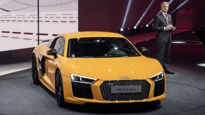 Audi AG chairman Rupert Stadler with the new R8 V10 plus.