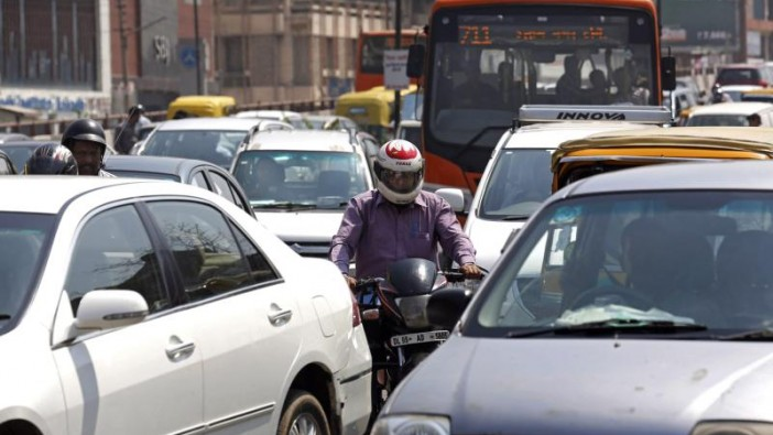 Heavy traffic in New Delhi. - EPA