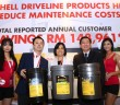 (Second from left) Shell Rimula brand manager Damon Chan, Shell Rimula global brand manager Seow Lee Ming and Ng at the launch of Shell Driveline lubricants.
