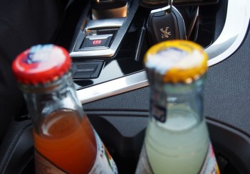 Cupholders or bottle holders for two in centre console.