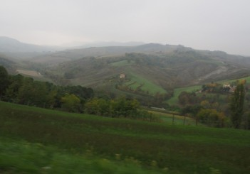 Rolling countryside is typical on the roads outside Bologna