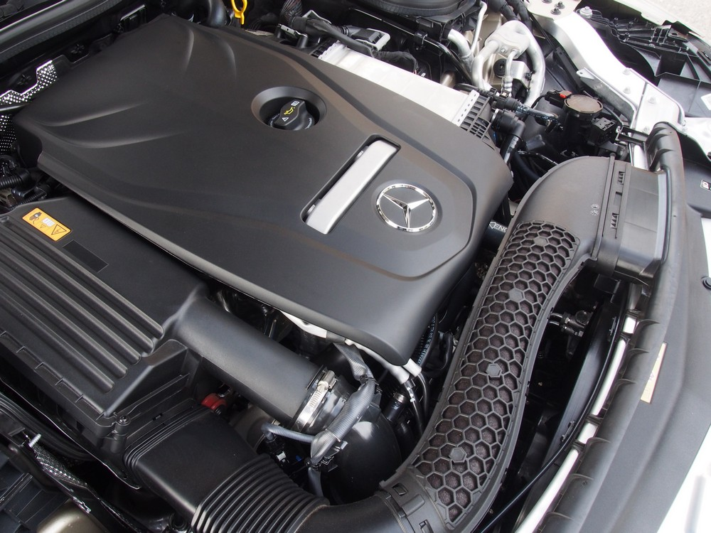 The 2.0-litre turbocharged engine of the E300 Coupe.