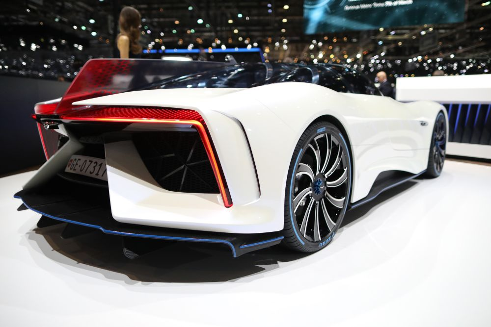 The Techrules Ren electric supercar on display at the Geneva show. — Reuters