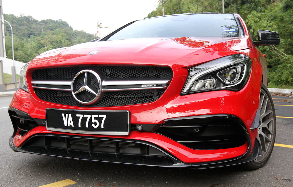 Take moving shots of Mercedes-AMG CLA 45.