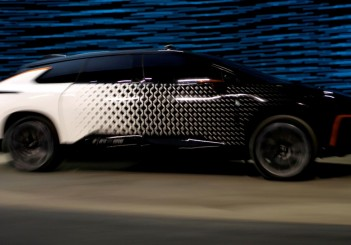 FILE PHOTO: A Faraday Future FF 91 electric car takes off across the stage in an exhibition of speed during an unveiling event at CES in Las Vegas