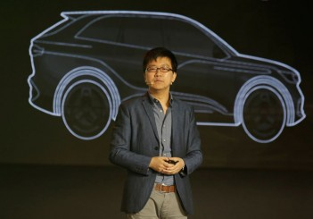 FILE PHOTO - Singulato's co-founder and CEO Shen Haiyin attends the launch ceremony of an electric SUV Singulato iS6 in Beijing
