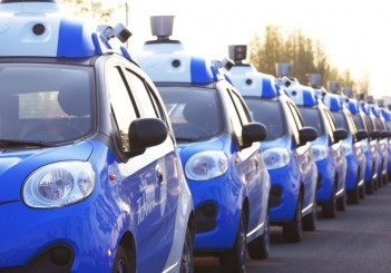 A line of Baidu autonomous vehicles are seen in an undated photo